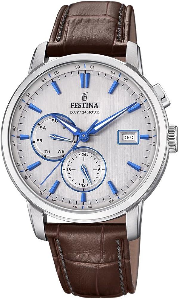 Festina orologio cronografo da uomo con cassa in acciaio inossidabile e cinturino in vera pelle F20280/2
