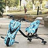 FLy Triciclo Al Aire Libre Deriva Eléctricos Kart Deriva Eléctrico De Tres Ruedas para Niños con Diseño De Amortiguación De Doble Resorte Adecuado para Niños Mayores De 6 Años,Azul