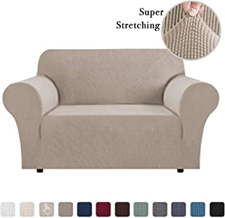 Sofa Slip Cover T Cushion for Leather Stretch Sofa Cover Furniture Covers for Moving Sofa Covers for 2 Cushion Couch Sofa Slipcovers Skid Proof Form Fitted Sofa Covers (Sand Loveseat)