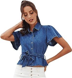 FELZ Camiseta para Mujer Verano Camiseta Mezclilla De Las Mujeres Casual BotóN Blusa Suelta Casual Tank Tops