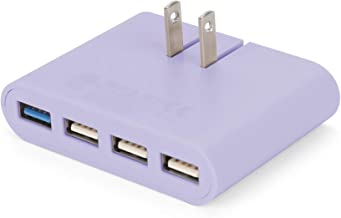 iHome AC Pro 4-Port USB Wall Charger with Folding Plug for iPhone/Ipad/Mini/Android – Slim Compact Travel Charger – Pastel Purple