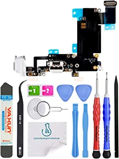 OmniRepairs Charging USB Dock Port Flex Cable Replacement with Microphone, Headphone Audio Jack Assembly Compatible for iPhone 6s Plus Model (A1634, A1687, A1699) with Repair Toolkit (White)