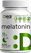 Eagleshine Vitamins Melatonin 12mg, Quick Dissolve, Extended Release Melatonin Tablets, 400 Counts, Advanced Melatonin Sle...