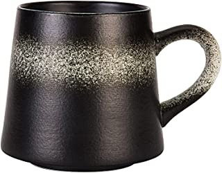Vitaa-Handmade Ceramic Mug Clay Cup with Handle Natural Earthenware Eco Friendly Tea Coffee Lead Free Pottery Handcrafted Mug,Retro Elegant Matte Cup Perfect Gift For Family and Friend,14oz (Black)