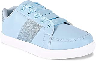 KazarMax Women's Shimmered Light Blue Platform Sneakers Shoes