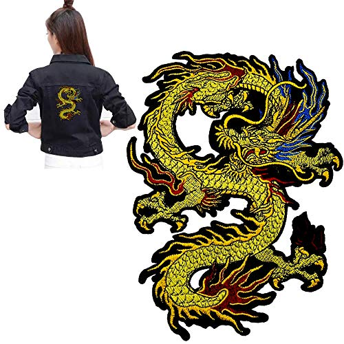 Gold Chinese Dragon Iron on Embroidered Patches Applique Patch Chinese Dragon Sew on or Iron on Patches for DIY Chinese Dragon Costume, Jeans, Jackets, Clothing, Bags