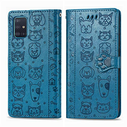 COTDINFORCA Compatible with Samsung Galaxy A51 5G Case Galaxy A51 5G Wallet Case Cute with Card Slots Flip Case for Girls Women Cat Dog Embossing Shockproof Case for Samsung Galaxy A51 5G Blue SDM