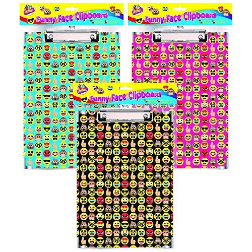 The Home Fusion Company - Cartelline per appunti con emoji, formato A4, colore: rosa, nero o blu