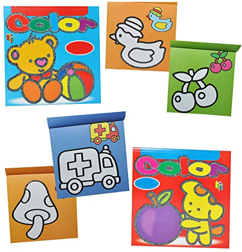 alles-meine.de GmbH 2 Stück: Malbuch / Malblock für Kleinkinder - erstes Malen Zwischen den Linien - mit farbigen Vorlagen - einfache Motive - z.B. Tasche - Ball - Luftballon - 2..