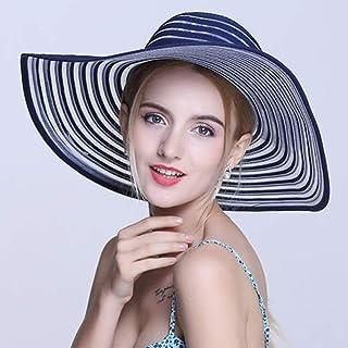 ZXH77f-Fashion hat Ladies Sun Hat Summer,Shading Polyester Wide Brim Solid Stripes Hats Women Sun Hats,Women Straw Sun Hat (Color : Blue)