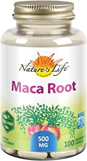 Nature's Life Maca Root 500mg | Healthy Energy, Vitality & Stamina Support | Non-GMO, Vegan | No Fillers | 100 Veg Caps