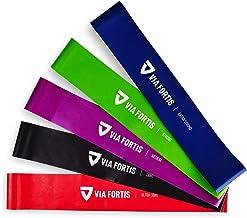 VIA FORTIS Fitnessbanden set - 5-delige set trainingsbanden incl. Duitse handleiding en draagtas - 5x fitnessband, gymnast...