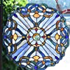 Bieye W10069 Baroque Tiffany Style Stained Glass Window Panel, Round Shape, 16 inches Wide #2