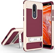 Phonelicious Cricket Nokia 3.1 Plus Case with Stand Heavy Duty Rugged Slim Durable Hybrid Dual Layer Shockproof Phone Cover Compatible with Nokia 3.1+ (Burgundy)