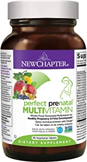 New Chapter Perfect Prenatal Vitamins, Organic Non-GMO Ingredients - Eases Morning Sickness with Ginger, Best Prenatal Vitamins Fermented with Wholefoods for Mom & Baby - 96 ct (Packaging May Vary)