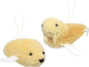 Martha Stewart Bristle Brush Arctic Seal and Walrus Buri Animal Ornaments (Set of 2)