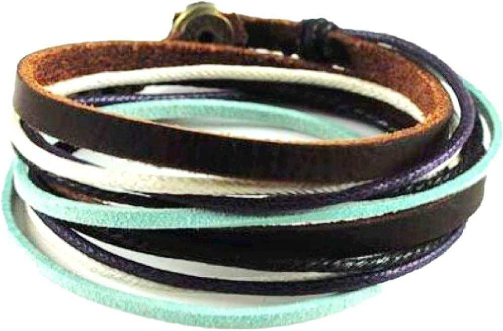 Original Tribe Soft Leather Multicolour Ropes Women Leather Bracelet Women Wrap Cuff Bracelet SL2284