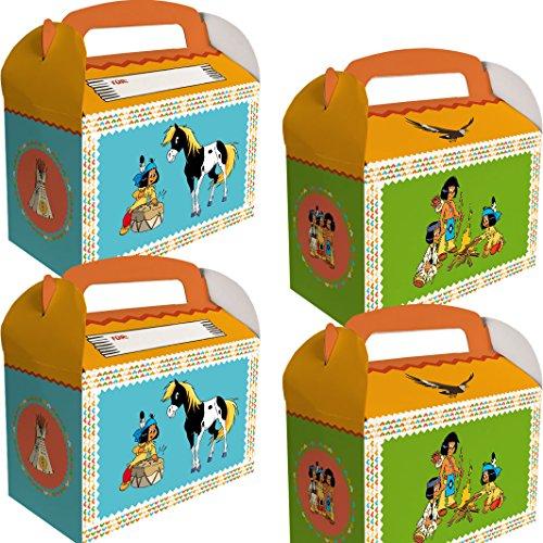 Yakari 6 Geschenkboxen Kinderparty und Kindergeburtstag von DH-Konzept // Indianer Indianerjunge Sioux Kleiner Donner Party Set