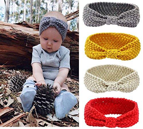 Tukistore 4 pezzi Unisex Baby Boys Girls Winter Knitted Headband Crochet Headwrap Crochet Knit Bowknot Head Wraps Fascia per capelli Fascia