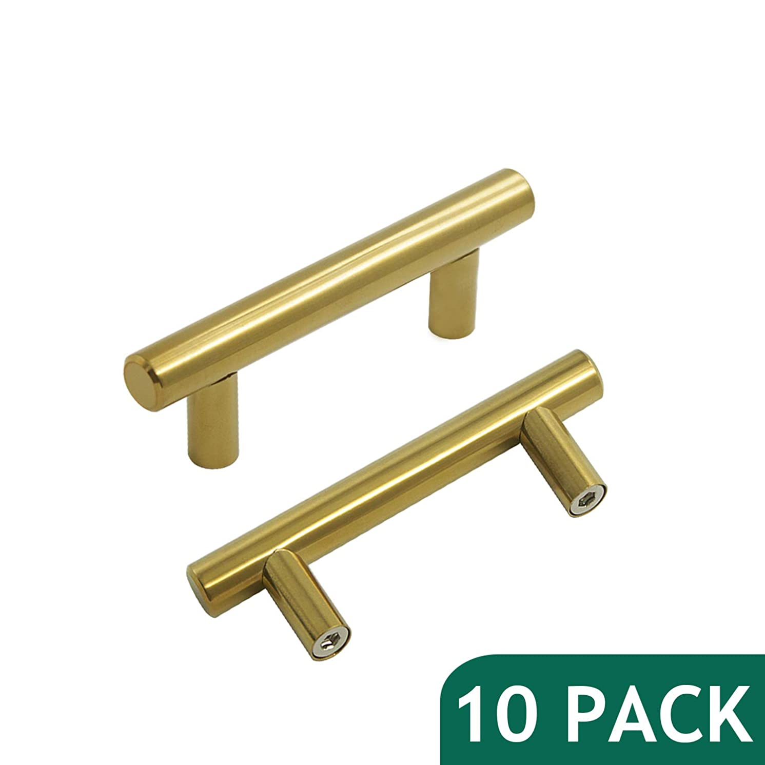 Probrico Brushed Brass Modern Cabinet Hardware Kitchen Cabinet T Bar Knobs Dresser Pull Bathroom Gold Drawer Handles - 2-1/2