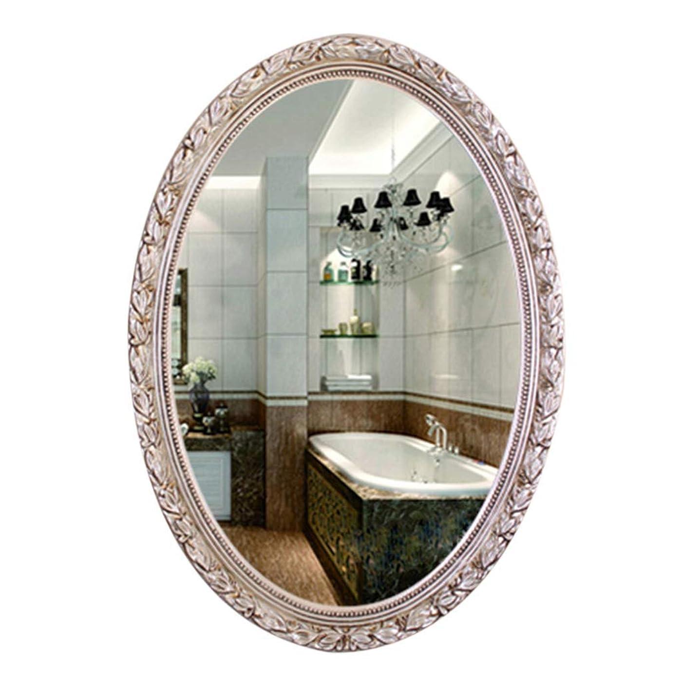 検出ブースト発見する浴室用ミラー、ヨーロッパのレトロミラー - オーバルミラー - PUフレーム防水、防湿-93 * 63 CM(カラー:ゴールド) (色 : 銀, サイズ : -)