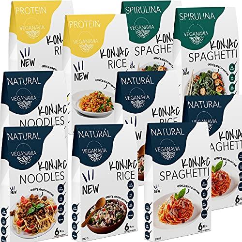 Konjac Pasta Sin Gluten Tallarines - Arroz - Espaguetis 10 Pack * 200 g | Shirataki Con Harina Sin Gluten | Bajo En Calorías (Mix Pack)