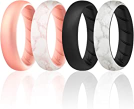 ROQ Silicone Rings for Women - Breathable Silicone Rings - Sets of 1/4/6 Bands - Comfort Fit Silicone Wedding Ring for Women - Medical Grade Silicone Rubber Band - Unique Women's Silicone Wedding Ring