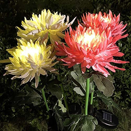 80cm solarlampen für außen garten,gartenleuchte lampions wetterfest,solarleuchten gartenstecker,Chrysantheme solar lichter,stehlampe vintage landhaus, für außen boden garten Gehweg deko (Rot)