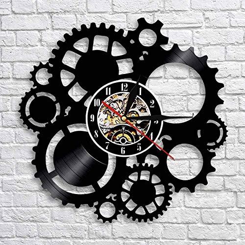 XYLLYT Engranaje Industrial Retro Disco de Vinilo Reloj de Pared Decoración Reloj de Pared Engranaje Retro Ventilador de circulación Regalo