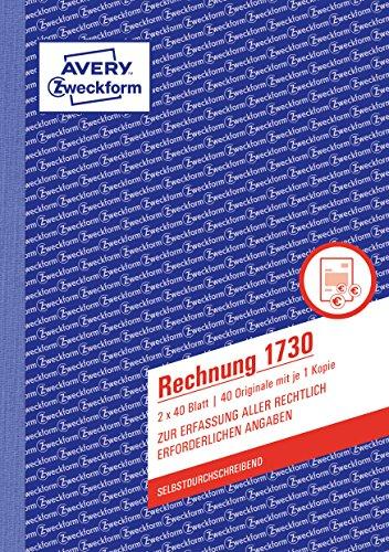 AVERY Zweckform 1730 Rechnung (A5, 2x40 Blatt, selbstdurchschreibend mit farbigem Durchschlag, mit Netto- und Bruttobetrag, MwSt. uvm., zur Erfassung aller rechtlich erforderlichen Angaben) weiß/gelb