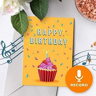 Cupcake Birthday Card With Music | Birthday Greeting Card, Recordable Birthday Card, Musical Birthday Card, Birthday Greeting Card Cupcake 00005 (120 Second Recordable)