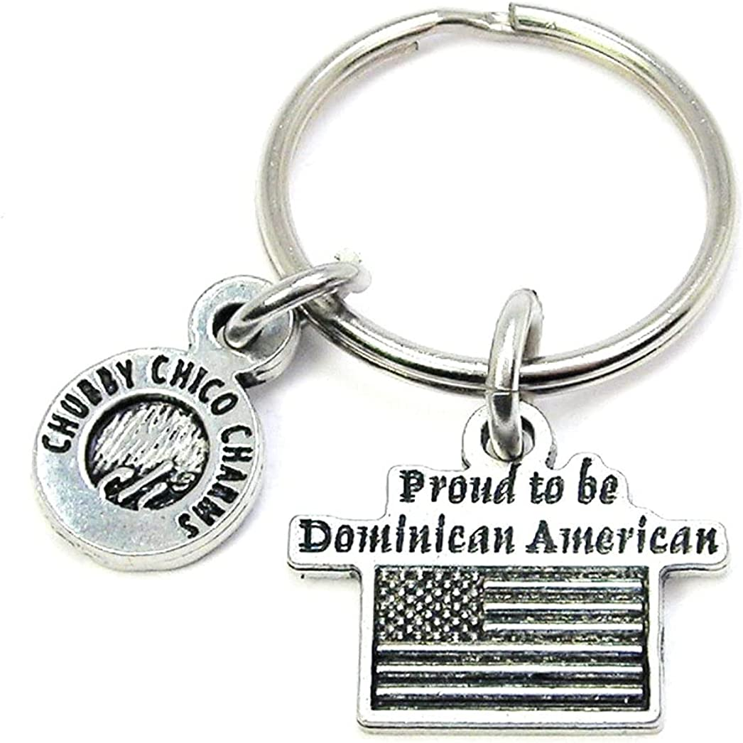 ChubbyChicoCharms Proud to Be Dominican American Pewter Charm On Stainless Steel Keyring Key Ring Key Chain Keychain for Women, Men, Teens, Adults, Dominican Republic