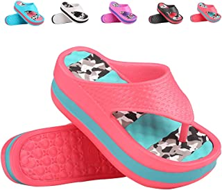 Fashion-zone Womens Lightweight High Heel Flip Flops-Comfortable Wedge Sandals-Summer Wedge Heel Flip Flops for Beach,Pool