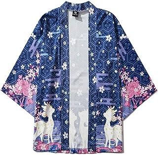 Japanese Ukiyo-e Sika Deer Print Robe China Harajuku Ancient Style Hyococ (Color : Color, Size : L)