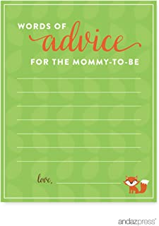 Andaz Press Woodland Animals Baby Shower Collection, Games, Activities, Decorations, Advice for Mom & Dad Cards, 20-Pack