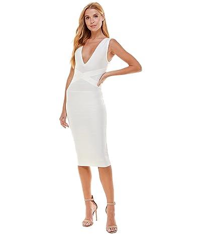 Bebe Classic Bandage V-Neck Midi Dress