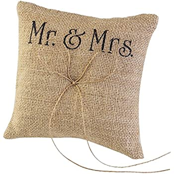 TINKSKY Mr Mrs Wedding Ring Pillow Burlap Jute Bow Twine Rustic Ring Pillow