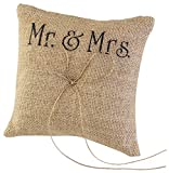 TINKSKY Mr Mrs Wedding Ring Pillow Burlap Jute Bow Twine Rustic Ring Pillow...
