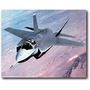 F35 Lightning II Fighter Jet Plane Front Isolated Photo Framed Poster 14x20 inch