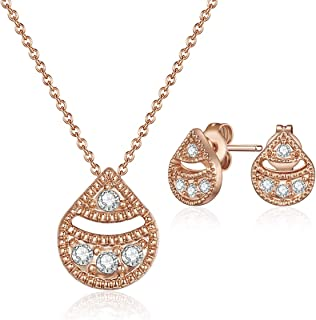 Mestige Necklace and Earrings For Women, Bronze - MSSE3254