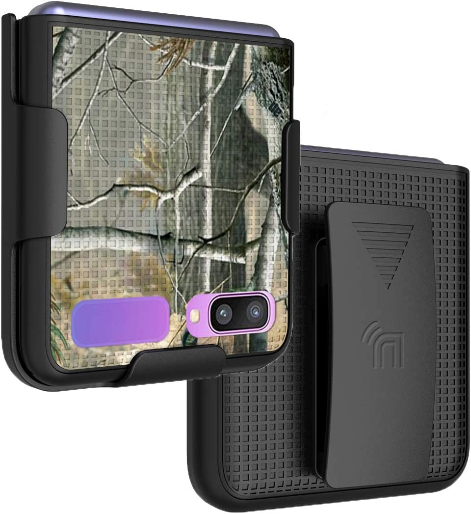 Case with Clip for Galaxy Z Flip, Nakedcellphone [Outdoor Camouflage] Tree Leaf Real Woods Camo Cover with Belt Hip Holster Holder for Samsung Galaxy Z Flip 5G Phone (SM-F700, SM-F707) 2020