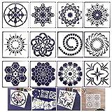 Xinlie Plantillas diseño de Mandala Plantillas de Pintura de Puntos Plantilla de Dibujos Plantillas de Plástico para Rocas de Bricolaje Arte de la pared de Piedra,Muebles de Madera Pintura (12 PCS)