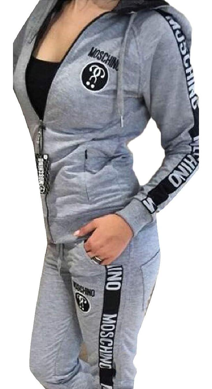 憂鬱な六分儀ヒロイック婦人用レタープリントロングスリーブジップアップジャケットパンツ2ピース衣装
