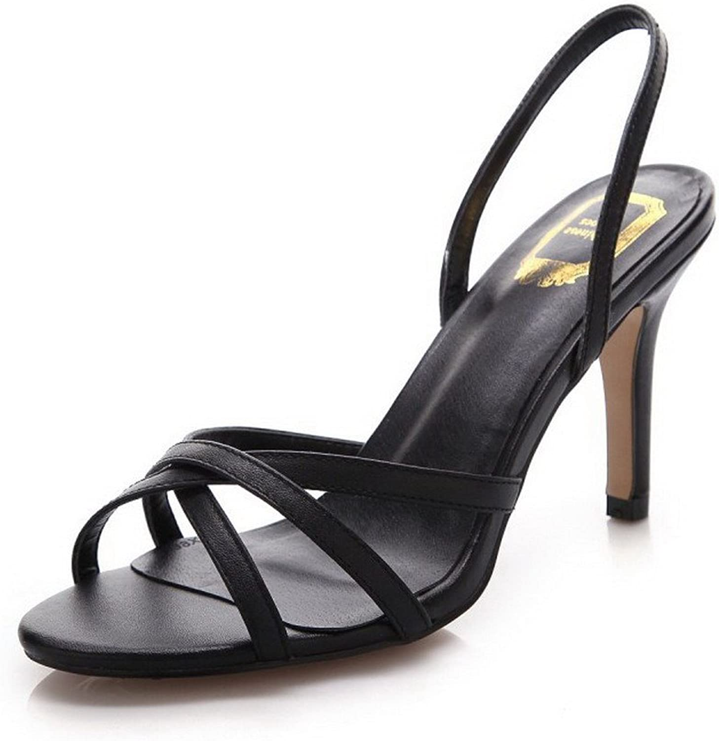 AmoonyFashion Women's Peep-Toe High-Heels Soft Leather Solid Pull-on Sandals
