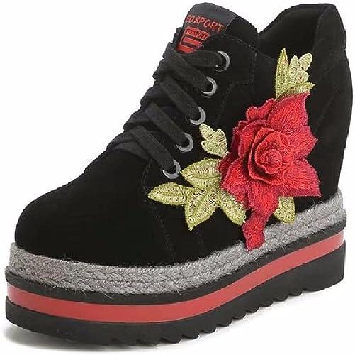 GTVERNH Chaussures pour Femmes Au Printemps Le Cuir Les Chaussures De Vent Brodés des Chaussures des Classiques La Broderie Haut Lieu à Fond Plat Chaussures à Semelle épaisse.