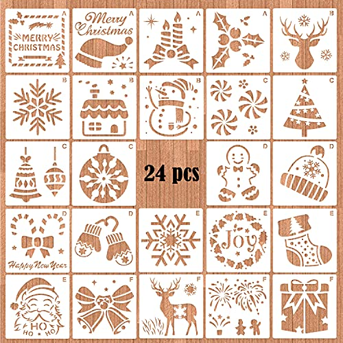 HOWAF 24 Pezzi Modello di Stencil di Natale, Stencil in plastica Riutilizzabile Artigianato per L'Arte Disegno Fai-da-Te Pittura Carta Regalo nel diario Scrapbook Spruzzatura Finestra Vetro Porta