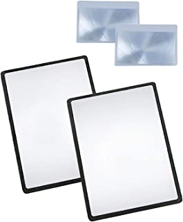 MagDepo Page Magnifying Sheet 3X PVC Lightweight Fresnel Lens with 2 Bonus Card Magnifiers, Magnifying Glass for Reading Small Patterns, Maps and Books