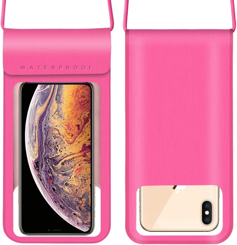 Cellphone Dry Bag w/Adjustable Lanyard Compatible for Apple iPhone 11 XR XS Max/Galaxy S21+ S20 FE Note 10+ A10s A11 A20 A22 A31 A51 A52 A71 / Moto E G Power Stylus 2020 / OnePlus 9R 8T (Pink)