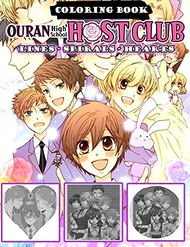 Ouran High School Host Club Coloring Book: Lines Spirals Hearts