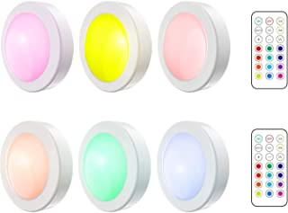 Gluckluz Closet Light LED Wireless Night Light with Remote Control Timer Battery Powered RGBW Color Changing Puck Lights f...